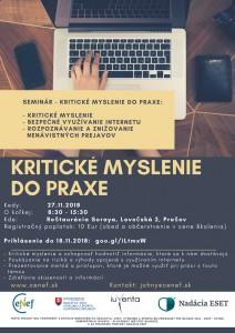 Seminár Kritické myslenie do praxe 27.11.2018